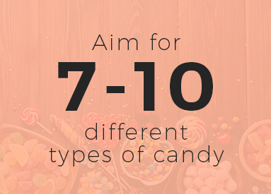 how many types of candy for a candy buffet